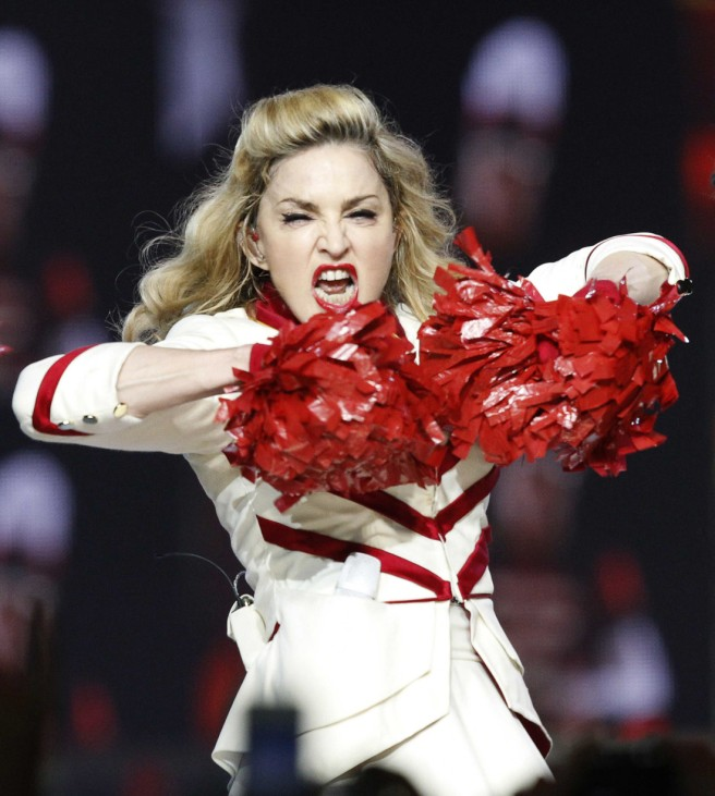 Madonna performs at Staples Center as part of her MDNA world tour in Los Angeles