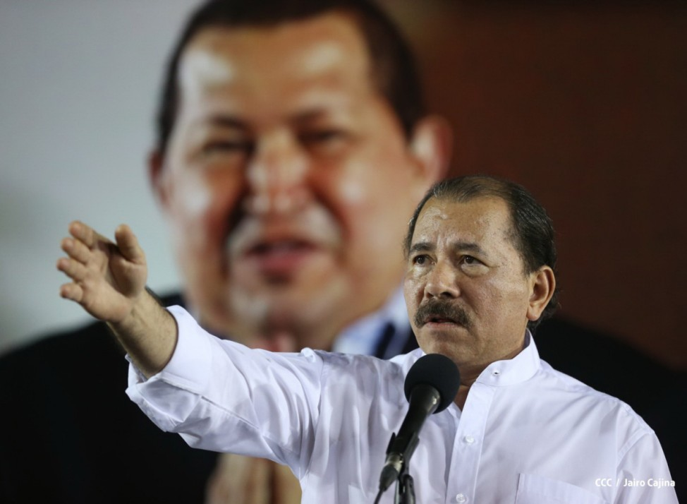 Nicaragua's President Daniel Ortega speaks during an event to commemorate Venezuela's President Hugo Chavez in Managua