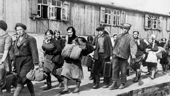 Ankunft von russischen Zwangsarbeitern in Deutschland, 1942