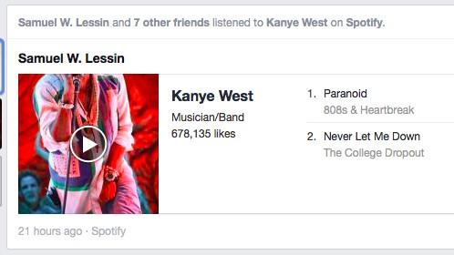 Neuer Newsfeed: Dieser Song wurde von neun Personen geteilt. Im neuen Newsfeed taucht er nur einmal auf.