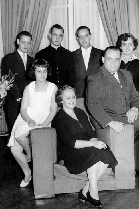 Undated handout photo of Argentine Cardinal Bergoglio and his family members