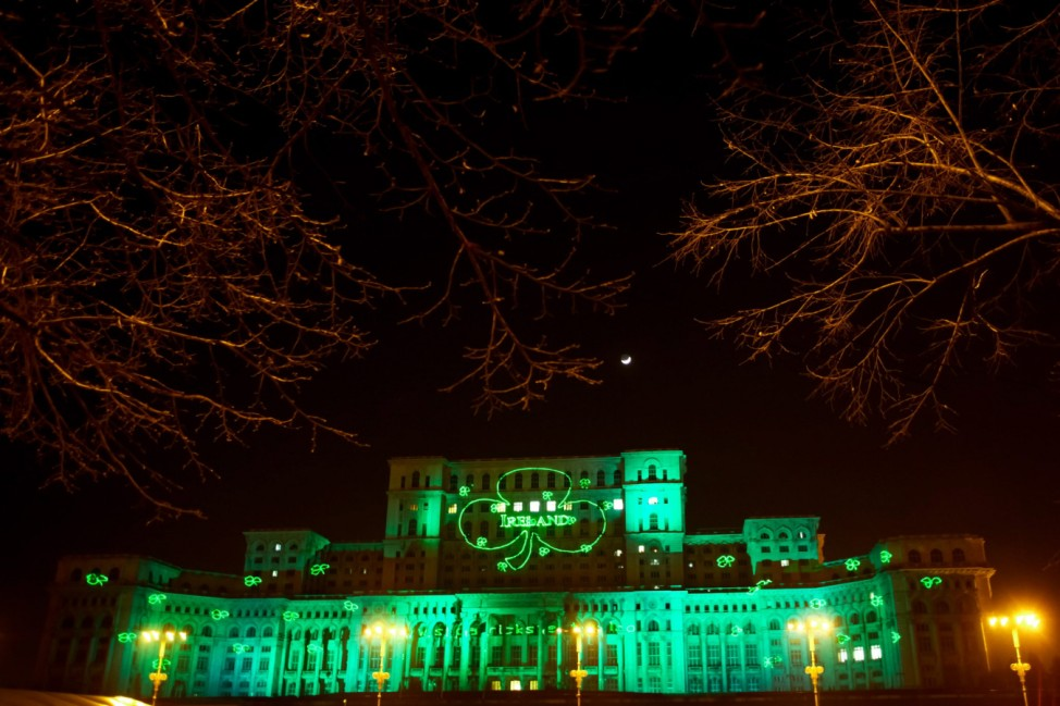 St Patrick's Day preparations in Bucharest