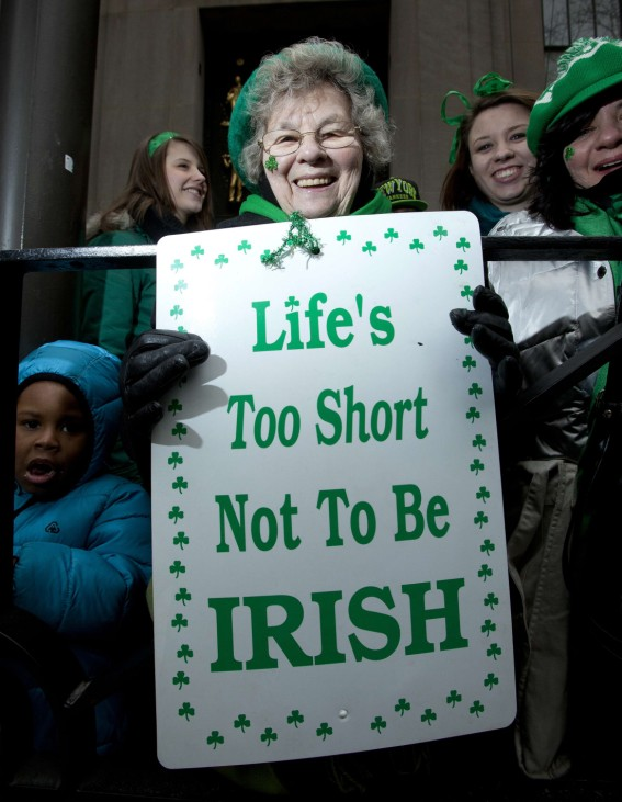 Caroline Kelleher from Dublin watches the St. Patrick's Day Parade in New York