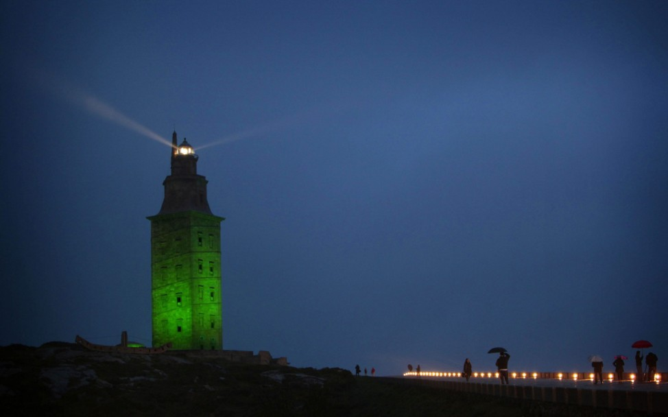 HERCULES TOWER LIGHTED IN GREEN