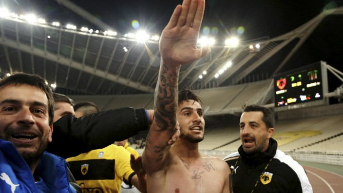 AEK Athens' Giorgos Katidis celebrates a goal during a Super League soccer match against Veria at the Olympic stadium in Athens