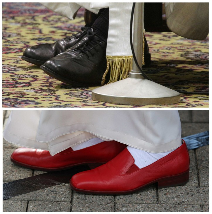 Combo picture shows the shoes of Pope Francis and the red shoes of his predecessor Pope Benedict XVI