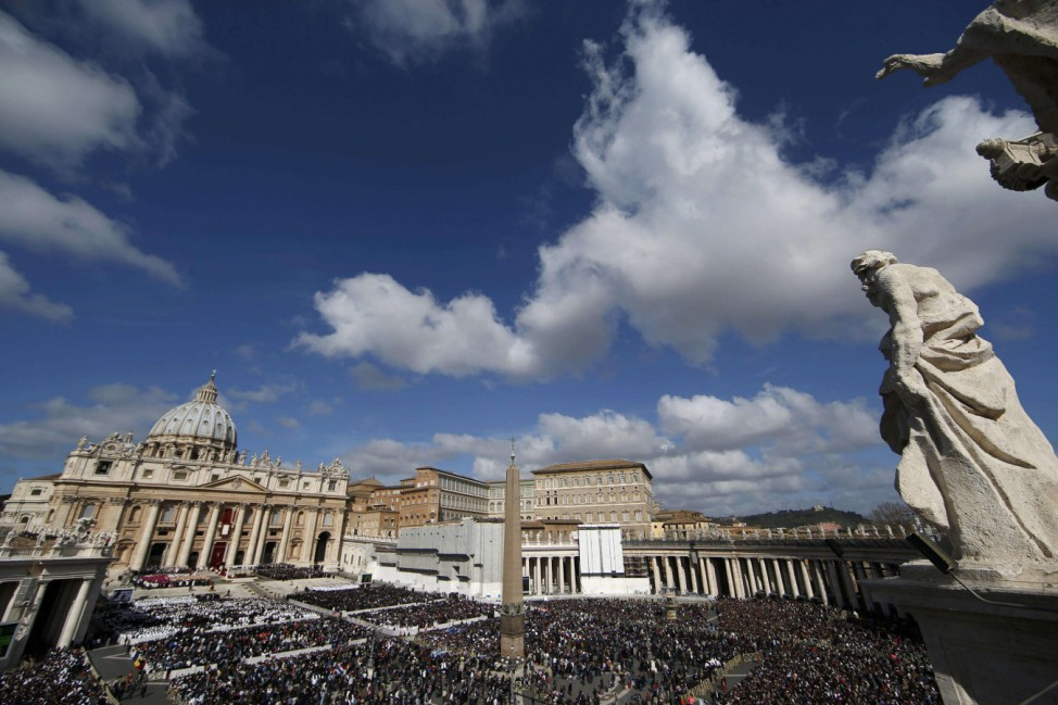 File picture of crowds filling Saint Peter's Square for the inaugural mass of Pope Francis at the Vatican