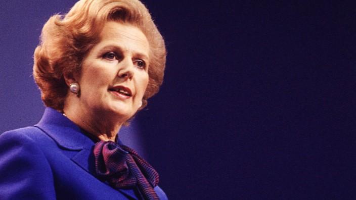 Margaret Thatcher bei einer Rede im Jahr 1980.