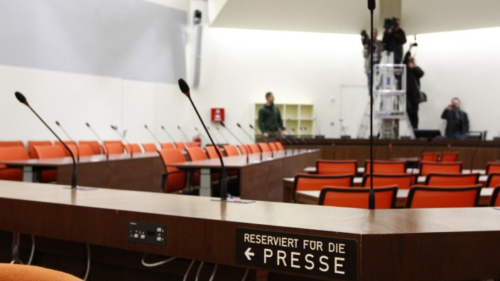 Courtroom where trial against Zschaepe, member of neo-Nazi group NSU, will take place, is pictured in Munich