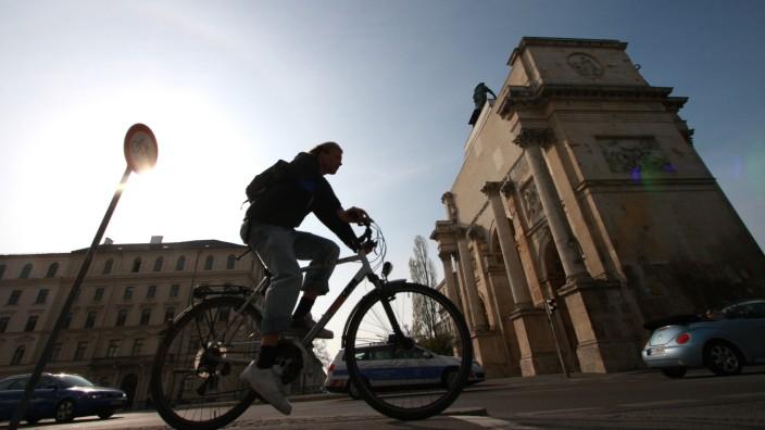 Fahrradfahrer in München, 2010