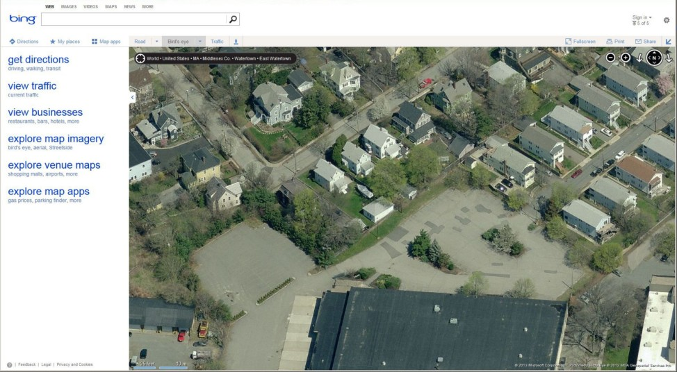 A Bing map image shows the yard and boat where police believe suspected bombing suspect Dzhokar Tsarnaev is cornered in Watertown, Massachusetts