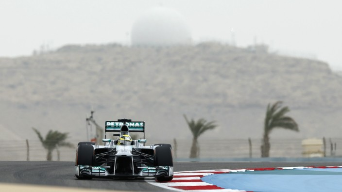Mercedes Formula One driver Rosberg drives during the qualifying session for the Bahrain F1 Grand Prix at the Sakhir circuit