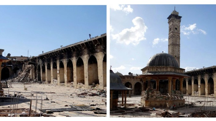 Unesco-Weltkulturerbe in Syrien: Zerstörtes Juwel der historischen Altstadt von Aleppo: Die Umayyaden-Moschee (links heute, rechts vor der Zerstörung des Minaretts)