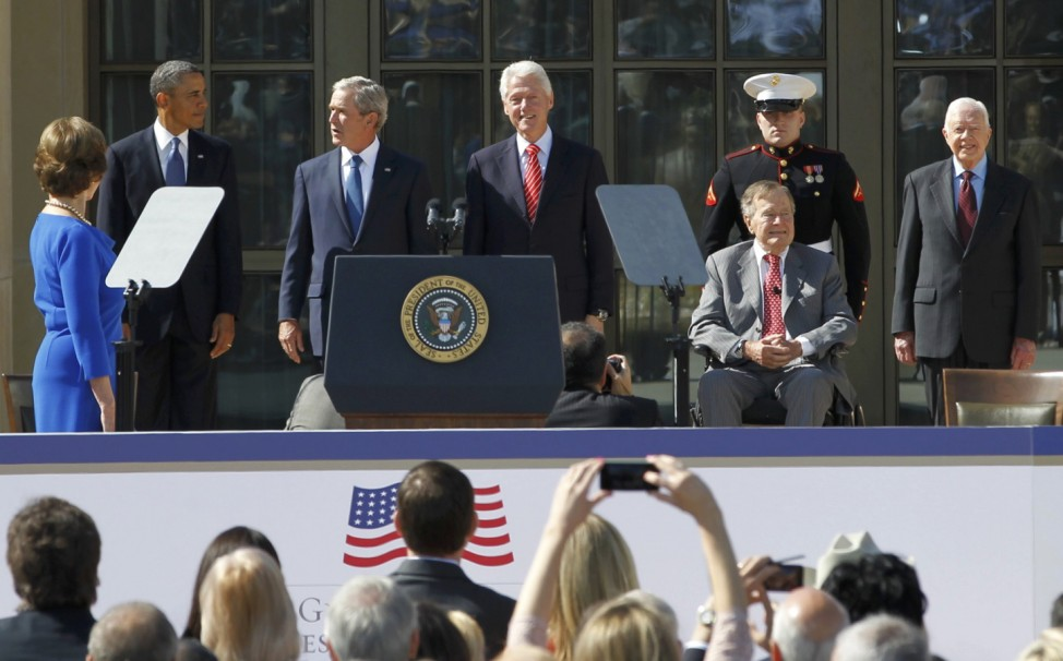 President Obama and former Presidents and First Ladies attend Bush Library dedication in Texas