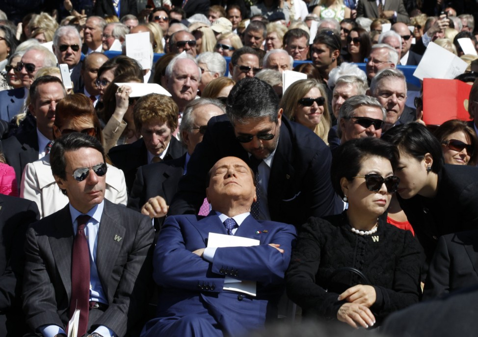 Former Italian Prime Minister Silvio Berlusconi is pictured as a translator repeats remarks by former U.S. president George W. Bush at the dedication ceremony of the George W. Bush Presidential Center in Dallas