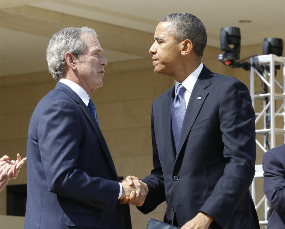 U.S. President Barack Obama shakes hands with former president George W. Bush following remarks at the dedication ceremony of the George W. Bush Presidential Center in Dallas