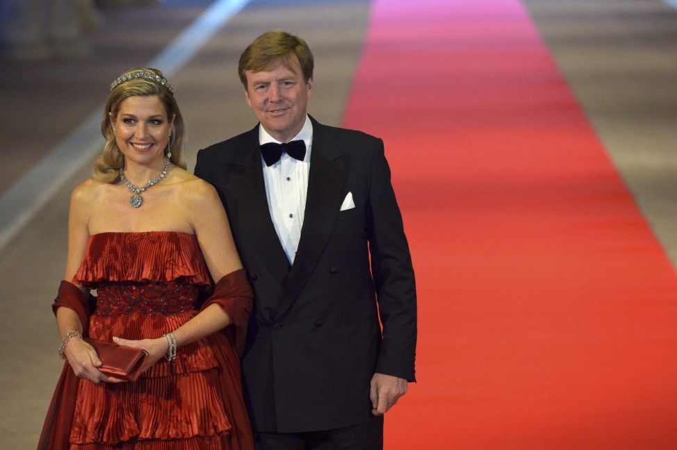 Dutch Crown Prince Willem-Alexander his wife Crown Princess Maxima arrive at a gala dinner at the Rijksmuseum in Amsterdam