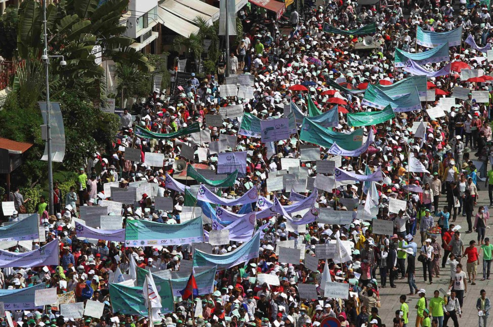 Garment workers march on the streets to mark International Labor Day in Phnom Penh