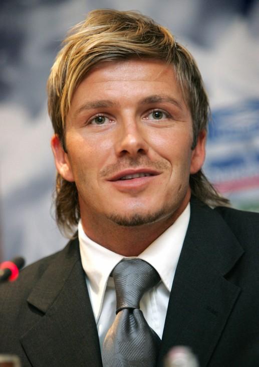 England captain David Beckham attends a news conference in Copenhagen, Denmark