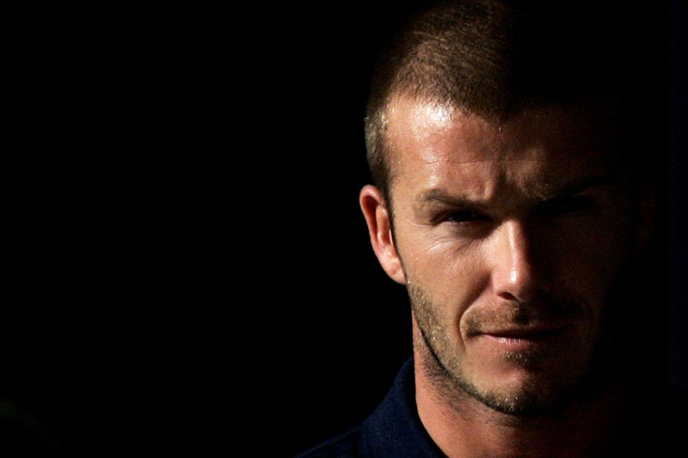 File photo of Los Angeles Galaxy's David Beckham arriving at a news conference in Sydney