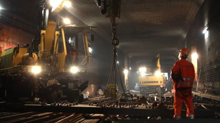 Gleisbauarbeiten bei der Münchner U-Bahn, 2011