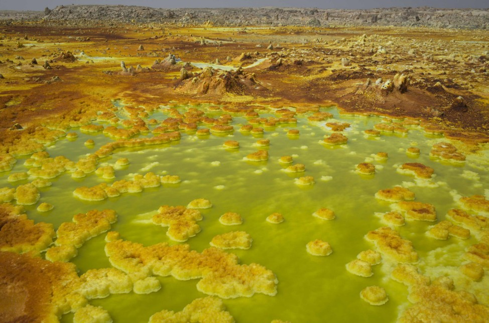 Sulphur and mineral salt formations are seen near Dallol in the Danakil Depression, northern Ethiopia