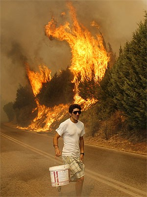 Waldbrand nördlich von Athen; AP