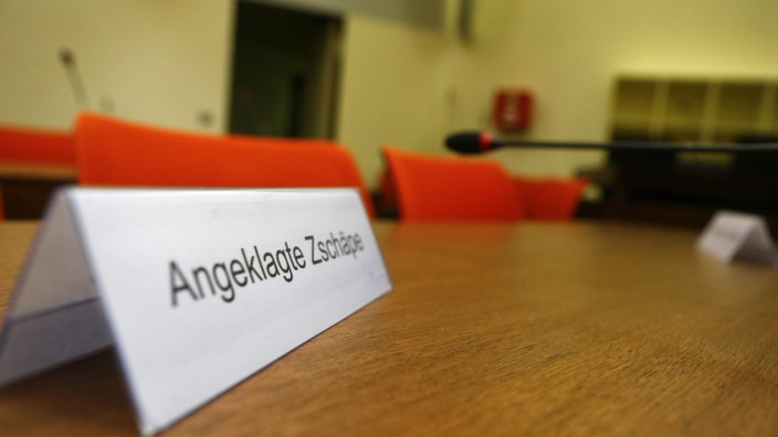 The name place card reading 'Defendant Zschaepe' is pictured in the courtroom before proceedings are resumed in the trial of Zschaepe in Munich