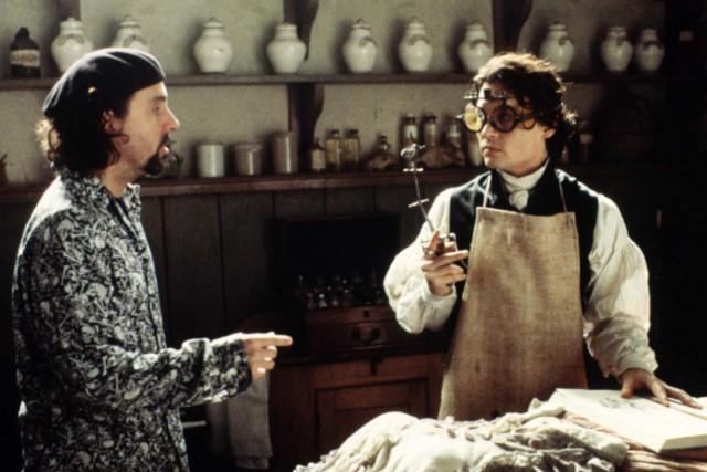 """Tim Burton und Johnny Depp am Film-Set von """"Sleepy Hollow"""""""