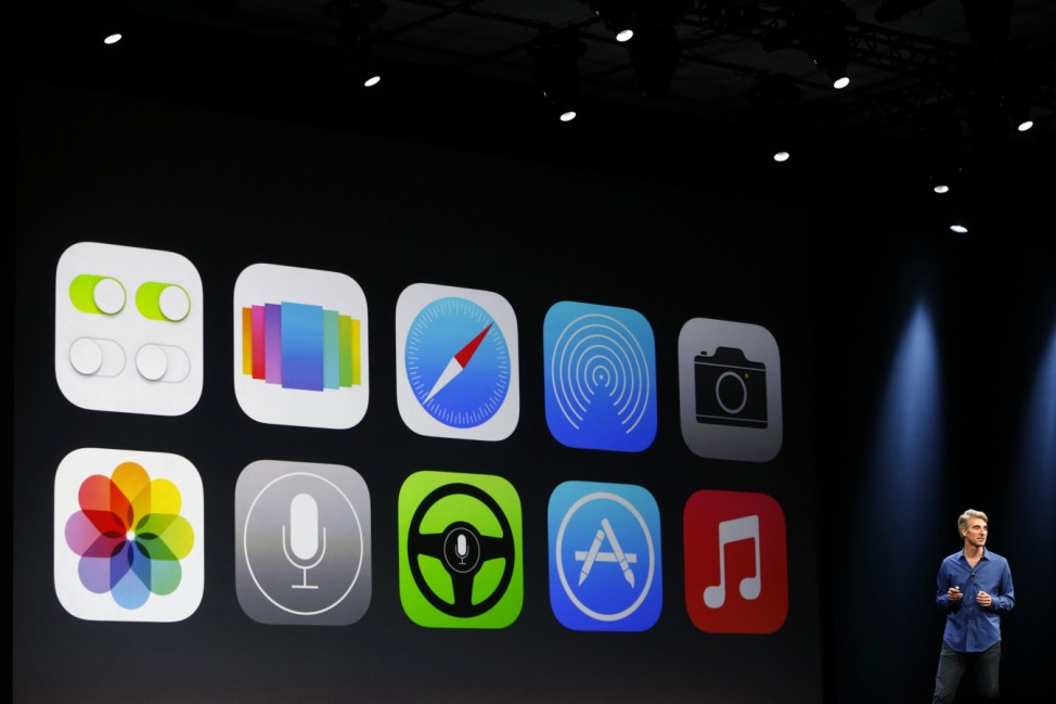 New Apple iOS 7 features are displayed on screen during Apple Worldwide Developers Conference (WWDC) 2013 in San Francisco