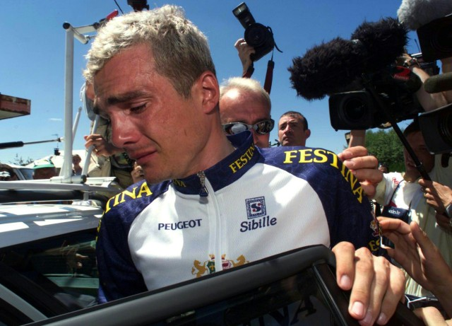 FESTINA RIDER RICHARD VIRENQUE CRIES FOLLOWING MEETING WITH RACE DIRECTOR