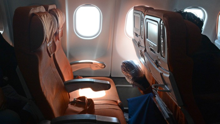 A picture taken in Moscow Sheremetyevo airport aboard a plane of Aeroflot flight