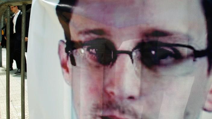 Edward Snowden auf einem Plakat in Hongkong