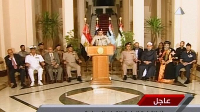 Militärputsch in Kairo: Verteidigungsminister Al-Sisi verliest die Erklärung, wonach das Militär Präsident Mursi abgesetzt hat.