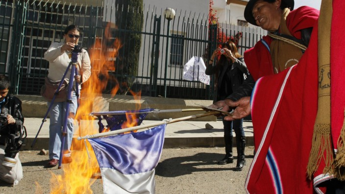Supporters of Bolivia's President Morales set fire to a France flag in front of the French embassy in La Paz