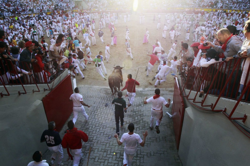 Traditionelles Stiertreiben in Pamplona