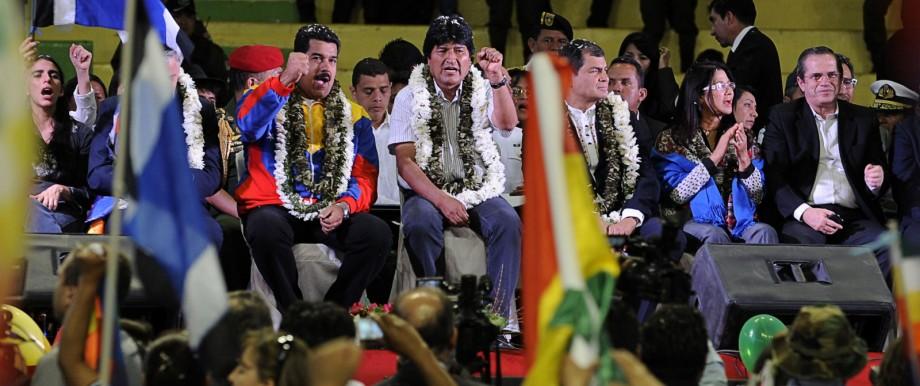 Evo Morales, Nicolas Maduro, Rafael Correa
