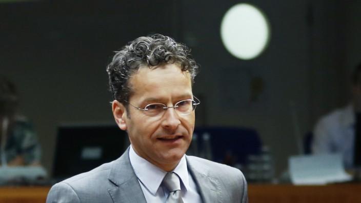 Dutch FM and Eurogroup Chairman Dijsselbloem arrives at a EU finance ministers meeting in Brussels
