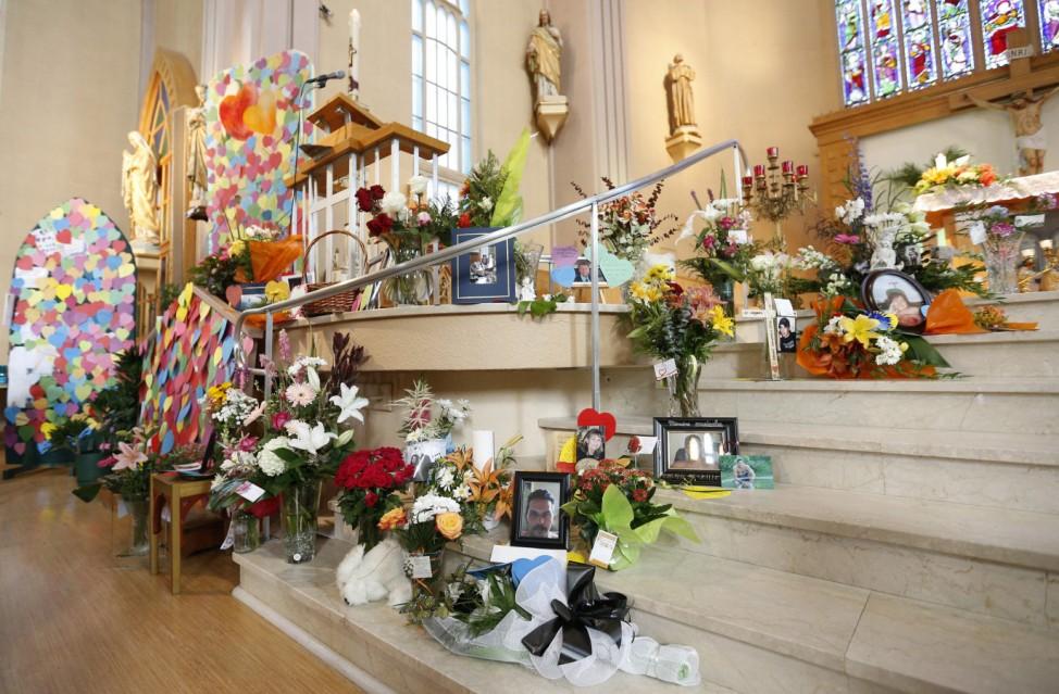 A memorial is pictured inside Sainte-Agnes church in Lac Megantic