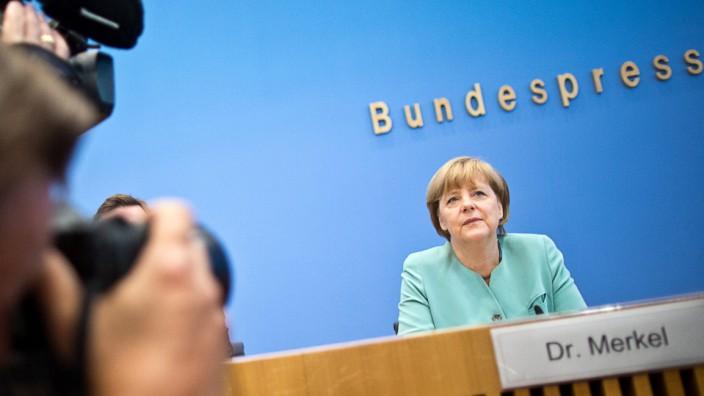 Angela Merkel vor der Bundespressekonferenz