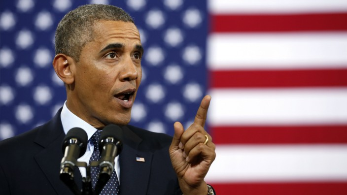 US-Präsident Obama bei seiner Rede in Galesburg