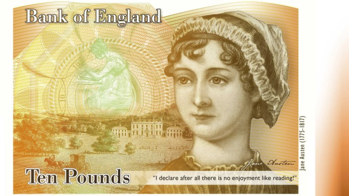 An illustration of a British ten pound Sterling banknote bearing the likeness of author Jane Austen, is seen in a picture released by the Bank of England in London