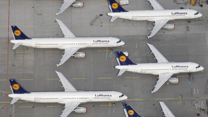 File photo of Lufthansa planes parked on the tarmac of the closed Frankfurt's airport