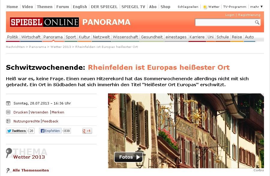 Reihenfelden heißester Ort Europas 2013