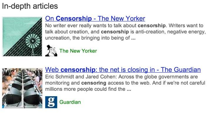 Neue Suchfunktion: Googles In-depth articles