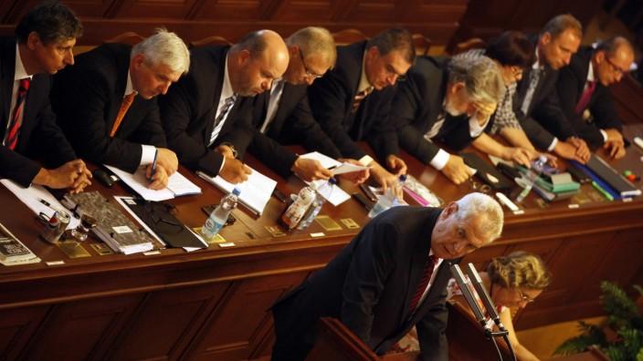 Czech President Milos Zeman speaks during the Czech Parliament session in Prague
