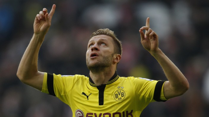 Borussia Dortmund's Blaszczykowski celebrates a goal against Fortuna Duesseldorf during the German first division Bundesliga soccer match in Duesseldorf
