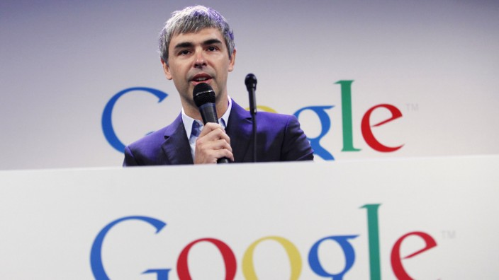Google CEO Page speaks during a press announcement at Google headquarters in New York in this file photo