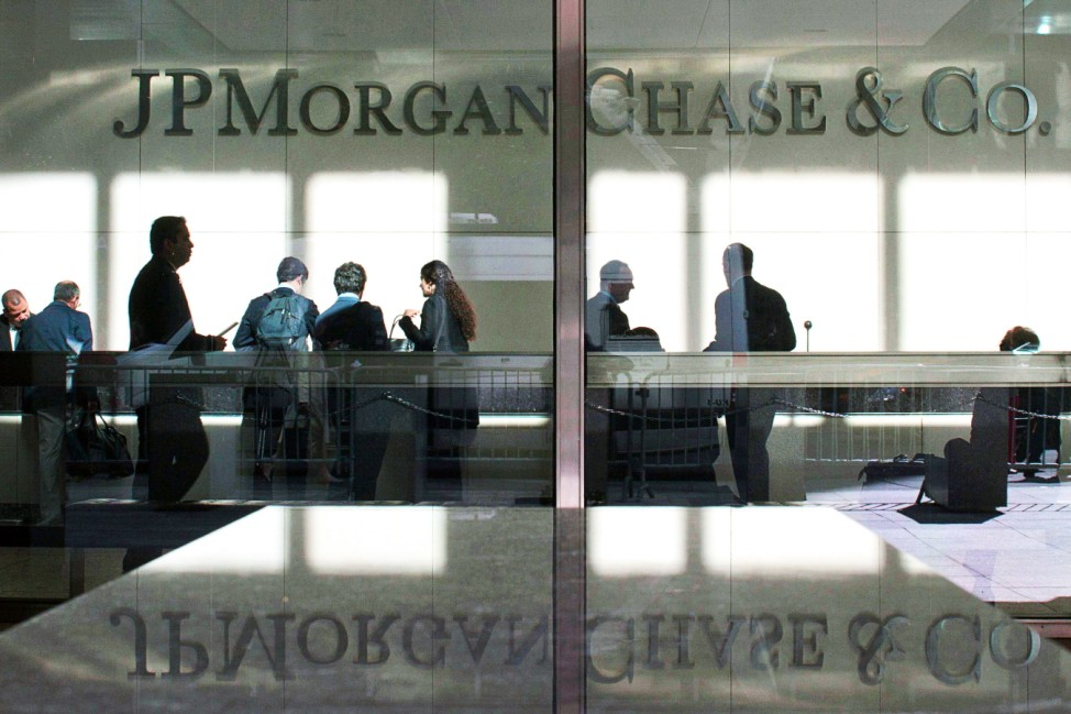 File photo of the lobby of JP Morgan headquarters is photographed through it's front doors in New York