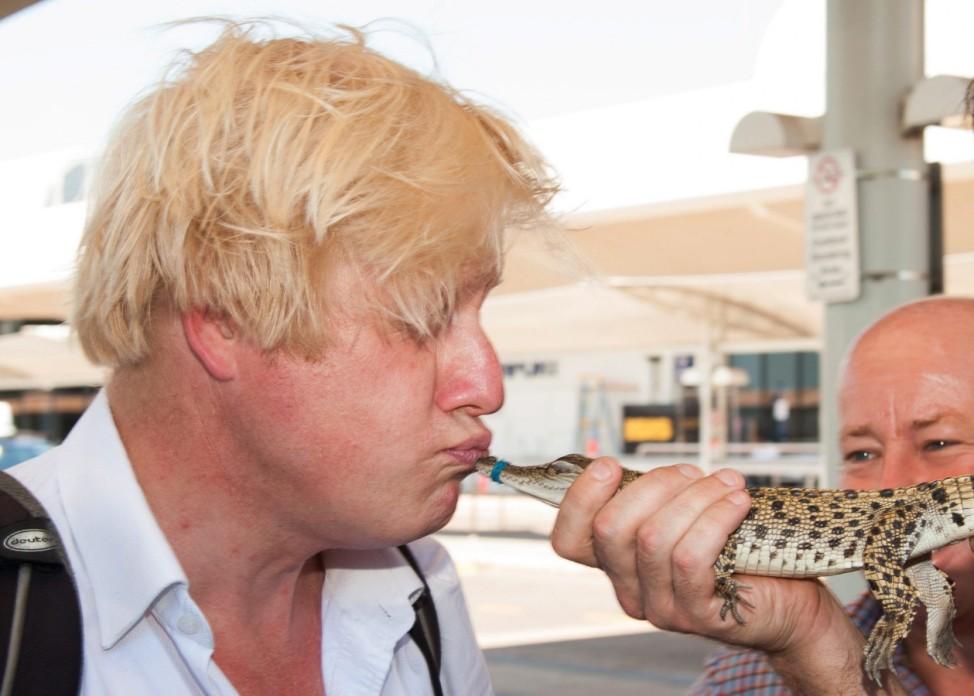 London Mayor Boris Johnson meets George the royal saltwater croco